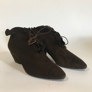 Xavier Danaud Brown Suede Ruffle Ankle Boots